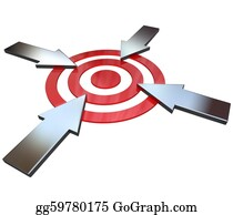 Bullseye - Four Competing Arrows Point At Bulls-Eye Target