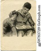 Boy-Reading - Vintage Postcard