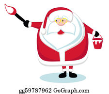 Paint-Brush - Cartoon Santa Holding A Paint Brush. Vector