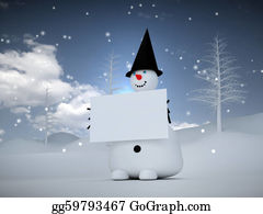 Melting-Snowman - 3d Snowman With Sign
