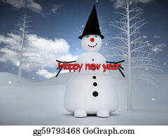 Melting-Snowman - 3d Snowman With Happy New Year