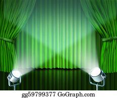 Stage-Curtain - Spotlights On Green Velvet Cinema Curtains