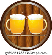 Beer - Sign With Barrel And Beer Mugs