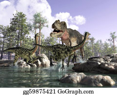 River - Photorealistic 3 D Scene Of A Tyrannosaurus Rex, Hunting Two Gallimimus, Running In A River With Rocks And Trees In The Background. Depth Of Field.