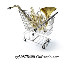 Sax - Supermarket Trolley, Full Of Wind Musical Instruments.