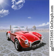 Muscle-Car - Ac Cobra Car, In Michelangelo Square In Florence, Italy. With The Cityscape In The Background. Airbrush Illustration.