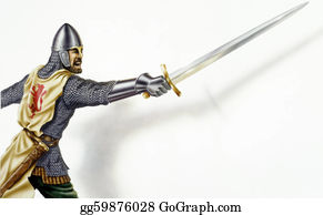 Sword - Middle Age Ancient Warrior With A Sword, In Action. On White Background With Dropped Shadow. Airbrush Illustration. Clipping Path Included.