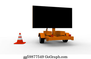 Roadworks - Roadworks Cart With Signboard