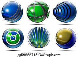 Six-Spheres-Balls-Illustration-With - Business Sphere Logo