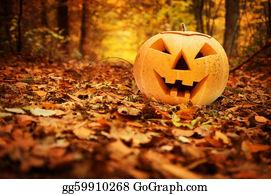 Scary-Pumpkin - Halloween Pumpkin In Autumn Forest