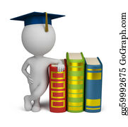 Header - 3d Small People - Graduate And Books
