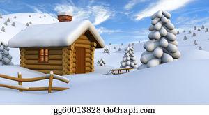 Cabin - Log Cabin In Snowy Countryside