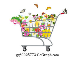 Trolley - Grocery Cart With Flowers