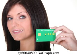 Health-Insurance-Card - Woman With A French Carte Vitale Health Card
