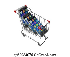 Trolley - An Illustration Of A Smart Mobile Phone Or Tablet Pc In Shopping Cart Trolley