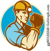 Fist - Coal Miner With Clenched Fist Retro