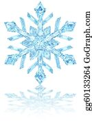 Snowflake - Light Blue Crystal Snowflake On Glossy White