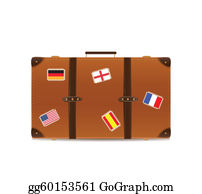 Suitcase - Suitcase Isolated On White With Traveling Flags