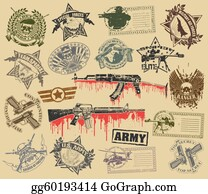 Military-Eagle-Emblem - Set Of Stamps Of Military Symbols