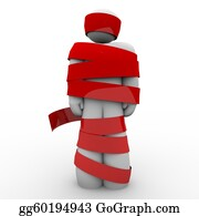 Wrap - Man Wrapped In Red Tape Hostage Or Paralyzed No Movement