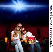 People-Watching-A-Movie - Two Young Girls In Cinema
