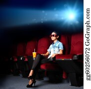 People-Watching-A-Movie - Young Girl In Cinema