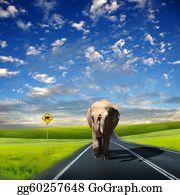 Blue-Elephant - Elephant Walking Along The Road