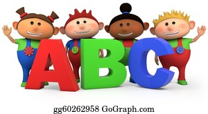 First-Day-Of-School - Kids With Abc Letters