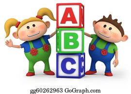 First-Day-Of-School - Boy And Girl With Abc Blocks