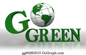 Recycle-Technology - Go Green Logo Word And Earth Globe