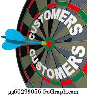 Outreaching - Dart In Bulls-Eye Target Customers Word  On Dartboard