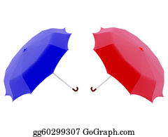 Umbrella - Red And Blue Umbrella
