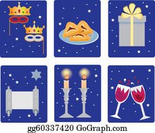 Purim - Holiday Purim Icons On The Blue
