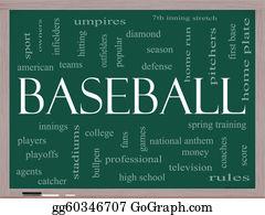 Baseball - Baseball Word Cloud Concept On A Blackboard