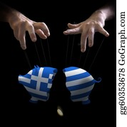 Government-And-Economy - Greek Crash And Puppet Master