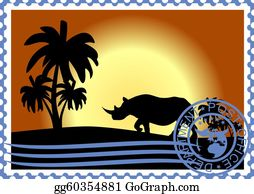 A-Palm-Tree-Sign-In-Yellow-And-Black - Postage Stamp. Savannah