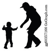 Babies-And-Toddlers-Silhouettes - Silhouettes Of Mother And Toddler Learning To Walk. Vector Eps8