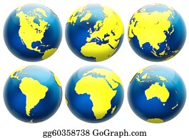 Six-Spheres-Balls-Illustration-With - Six Different Positions Globes Isolated On White