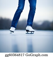Freezing-Cold - Young Woman Ice Skating Outdoors On A Pond