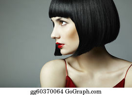 Wig - Fashion Portrait Of A Young Beautiful Dark-Haired Woman