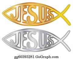 Ichthus - Silver And Gold Christian Fish Symbol - Illustration