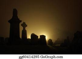 Headstone - Graveyard With Night Fog