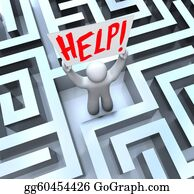 Confused - Person In Labyrinth Maze Holding Help Sign