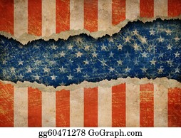 Ripped-Paper - Grunge Ripped Paper Usa Flag Pattern