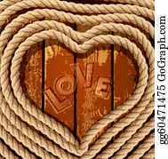 Coil - Vector Background With A Heart Of Coiled Rope On A Wooden Background