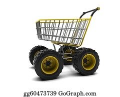 Basket - Shopping Basket With Big Wheels