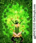 Happy-Woman-Leprechaun - Girl Leprechaun Shamrock Four Leaf Clover Background