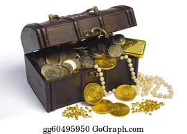 Treasure - Treasure Chest With Euro Money And Gold