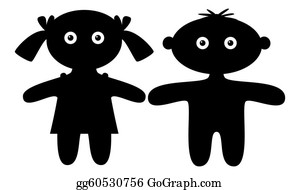 Babies-And-Toddlers-Silhouettes - Dolls, Boy And Girl, Silhouette