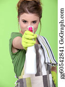 Sense-Of-Smell - Girl Holding Detergent With Pistol Pump Against Green Background